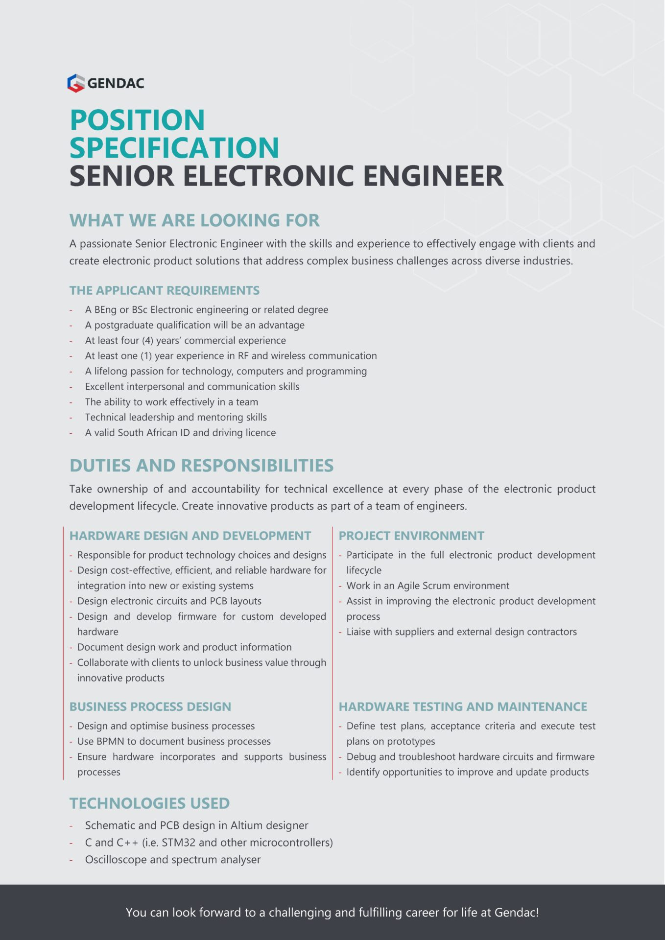 Senior Electronic Engineer Job pg 1