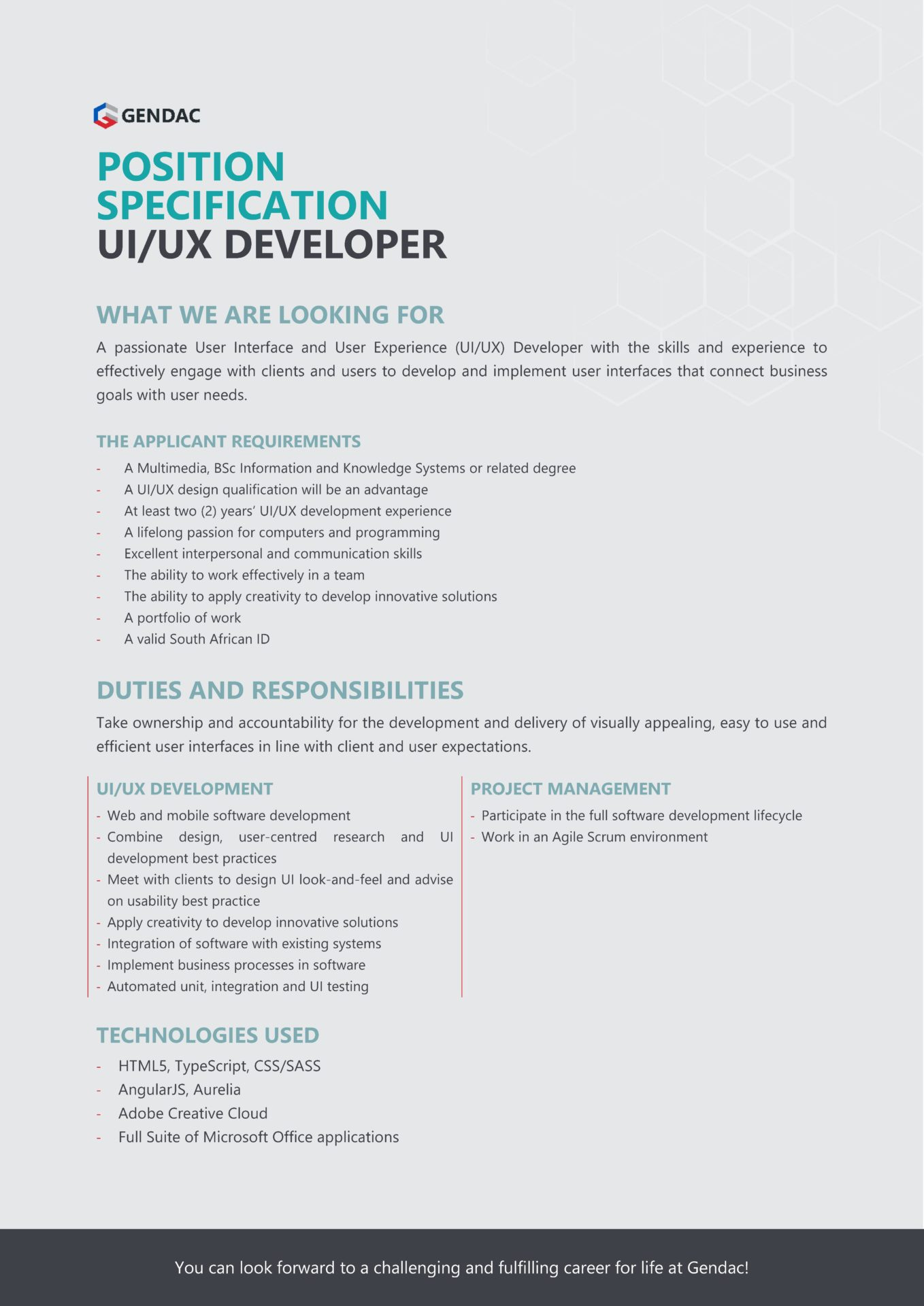 UIUX Developer Job
